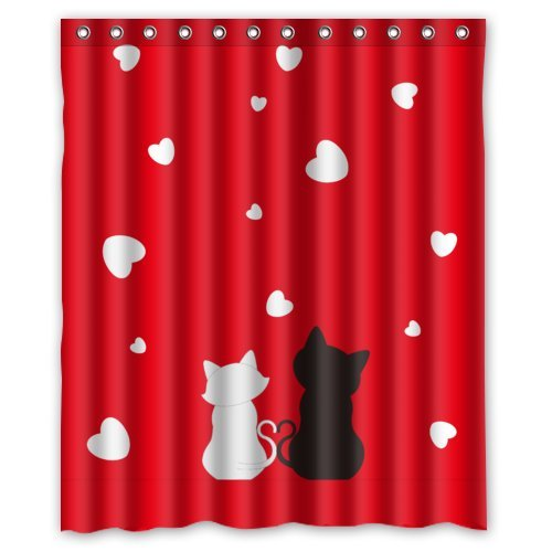 Valentine's Day Cartoon Cats Couples With White Love Hearts In Red Background Shower Curtain