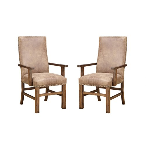 Emerald Home Chambers Creek Brown Upholstered Dining Chair with Arms And Nailhead Trim, Set of Two For Sale