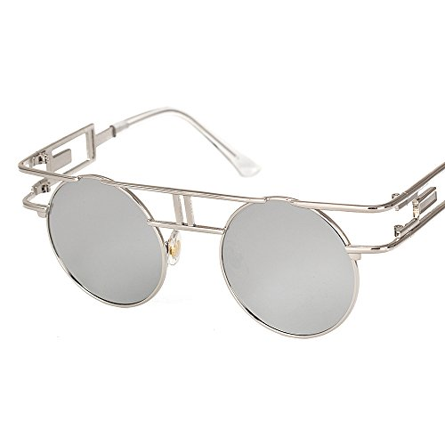 VeBrellen Men Gothic Sunglasses Reflective Flash Mirror Lens Vintage Women Steampunk Round Sunglasses (Silver Frame With Silver Lens,C5, (Steampunk Fashion Male)