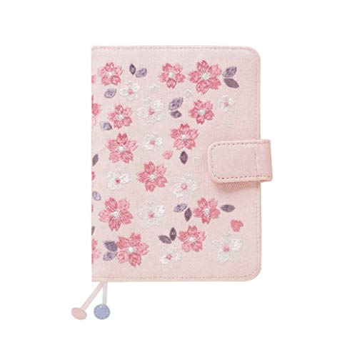 TangMengYun Office Notebook Notebook Cherry Blossom Book Shine Calendar Schedule Book Cloth Embroidery Hand Account Notebook A6 Hand Book 128 Sheets (Color : Pink, Size : - Blank Dazzle Cloth