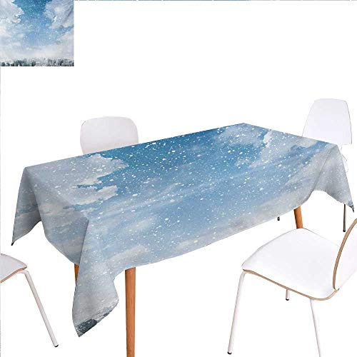 familytaste Winter Patterned Tablecloth Snow Falling Down on New York City Urban Life Skyscrapers Streets Cold Weather Dust-Proof Oblong Tablecloth 60