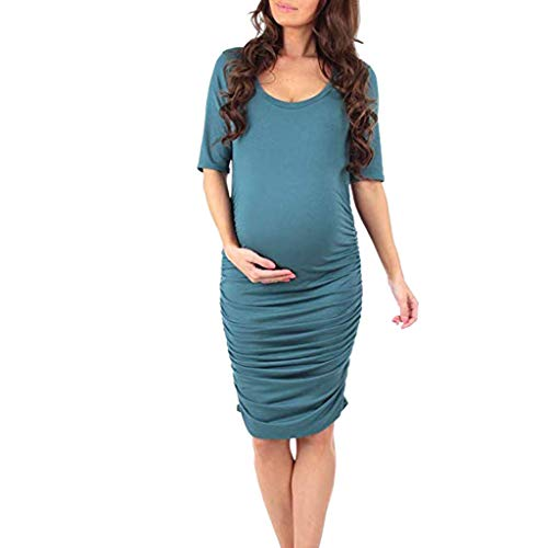 Maternity Dress Forthery Womens Solid Short Sleeve Dress Wrap Hem Ruched Casual Fitted Sheath Pregnant Dress(Green,S=US 4)