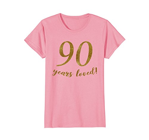 (Womens 90 years loved - gold glitter T-shirt Large Pink)