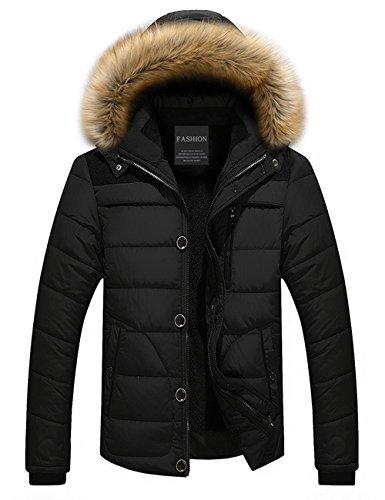 Collare Incappucciato Jacket Down Puffer Uomo Di Nero Addensato Giacca Foderato Menschwear Pile Piumino S Pelliccia 3xl v5fqw8n