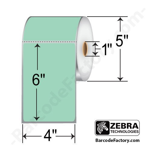 Zebra Technologies 10010035 1 Z Perform 2000D Paper Label  Direct Thermal  Perforated  Flood Coated  4  X 6   1  Core  5  Od  Green  430 Labels Per Roll  Pack Of 6