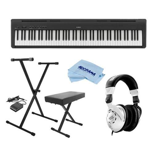 Kawai ES110 88-Key Portable Digital Piano, Stylish Black - Bundle With On-Stage KPK6520 Keyboard Stand/Bench Pack with Sustain Pedal, Behringer HPS3000 HP Studio Headphones, Microfiber Cloth by Kawai
