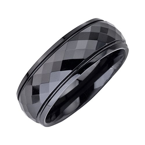 Faceted Black Ceramic Ring - AX Jewelry Mens 8mm Black Ceramic High polished Faceted Comfort-fit Band
