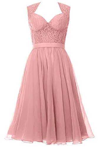 MACloth Women Chiffon Lace Illusion Short Prom Formal Dress Evening Party Gown Blush Pink