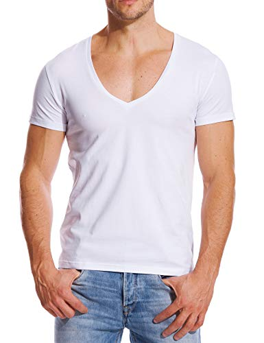 Stretch T Shirt for Men Deep V Neck Tee Muscle Fit Low Cut Male Top White XL