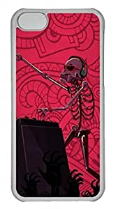 Transparent Hard Plastic Protective For Case Iphone 5/5S Cover,Skull Playing Music DJ Case Shell For Case Iphone 5/5S Cover,Red For Case Iphone 5/5S Cover