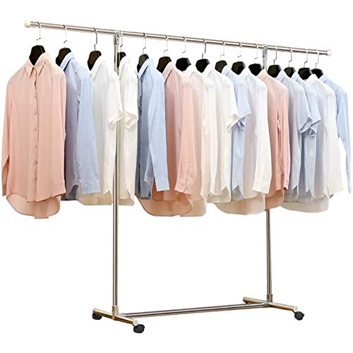 Reliancer Heavy Duty Large Garment Rack Stainless Steel Clothes Drying Rack Commercial Grade Extendable 47-77inch Clothes Rack Adjustable Clothes Hanger Rolling Rack with 4 Casters Tool Golves 10 Hook from Reliancer