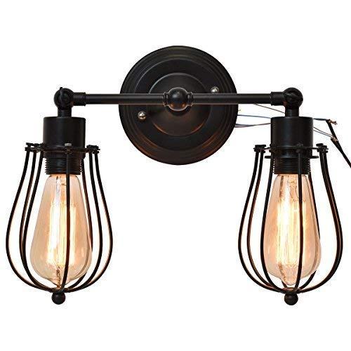 ○ 2 luces de pared principales Aplique de pared industrial con ...