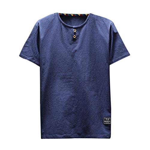 SFE Mens Linen Button Short Sleeve Solid Color Loose T Shirt Blouse Casual Party Holiday Summer Fashion New 2019 Navy
