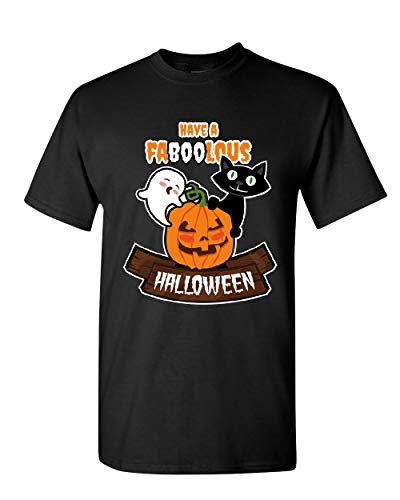 Have Faboolous Halloween T-Shirt Funny Ghost Pumpkin Black Cat Mens Tee Shirt Black 5XL
