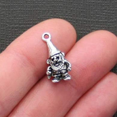 10 Garden gnome Charms Antique Silver 20x12mm Tone (NS883)