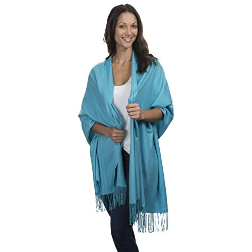 Cashmere & Class Large Soft Cashmere Scarf Wrap – Womens Winter Shawl + Gift Box (sky blue)