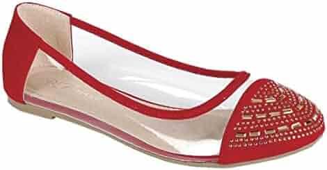 7416cc81b478e Women's Clear Transparent Buckle Strap Rhinestones Decorated Ballerina  Ballet Flat Shoes