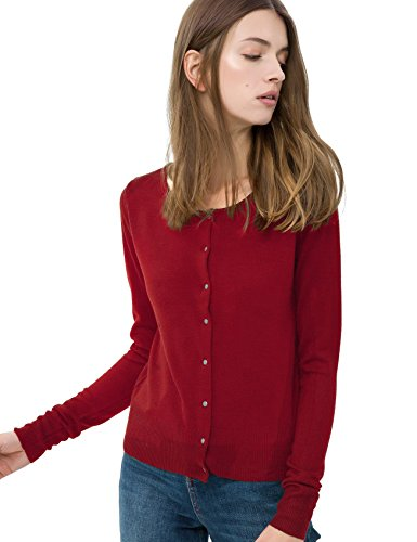 Breeze Womens Sweater- Casual Round Neck Button Front Long Sleeve Soft Knit Cardigan for Women - Red Wine, Small