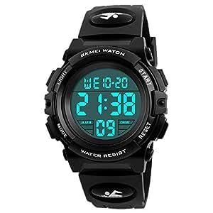 SOKY LED 50M Waterproof Digital Sport Watches for Kids, Boys, Blackness
