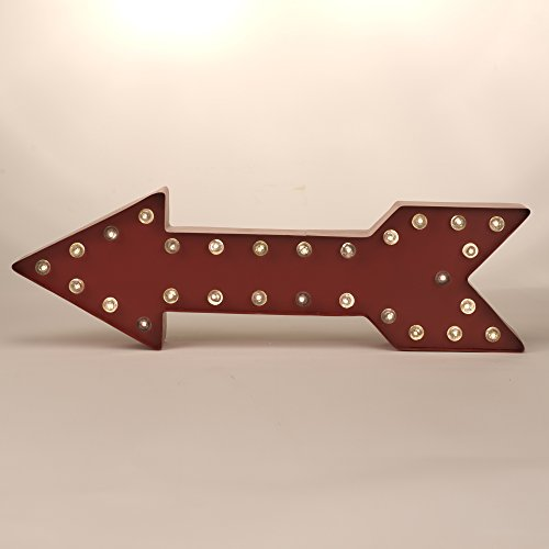 Glitzhome Battery Operated Marquee LED Lighted Arrow Sign, 15.98' by 5.04' by 5.04', Red