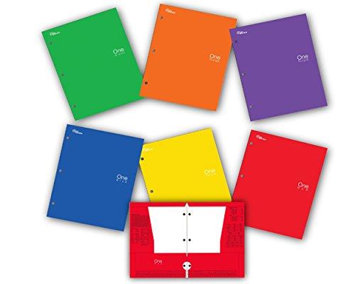 New Generation - One - 4 Pocket Folder / Portfolio , 6 PACK , Heavy Duty 3 Hole Punch - Assorted 6 Fashion colors folders UV Glossy Laminated .