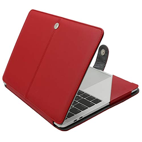 MOSISO PU Leather Case Compatible 2019 2018 MacBook Air 13 A1932 Retina / 2019 2018 2017 2016 MacBook Pro 13 A2159/A1989/A1706/A1708, Book Folio Protective Cover Stand Sleeve, Red
