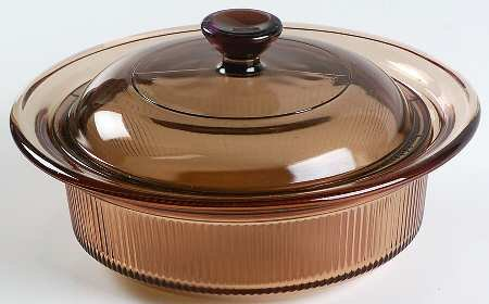 Corning Ware Visions Visionware Glass Amber Covered Casserole Baking Dish - 1 Qt (Amber Casserole)