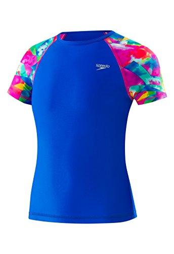 Speedo Girls Printed Short Sleeve Rash Guard Shirt, Small, Radiant Blue