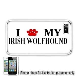 Irish Wolfhound Paw Love Dog Apple iPhone 4 4S Case Cover White