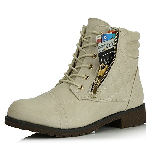 - DailyShoes Women's Military Lace Up Buckle Combat Boots Ankle High Exclusive Credit Card Pocket, Ivory White Pu, 6.5