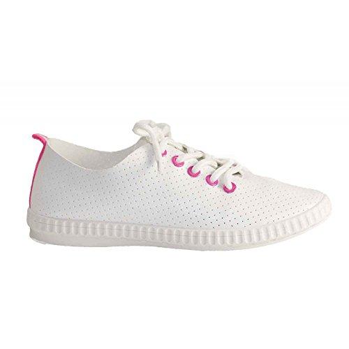 Primtex Simili Cuir Sans Blanc Souples Femme Baskets Coutures Noir qZxwqA7UB