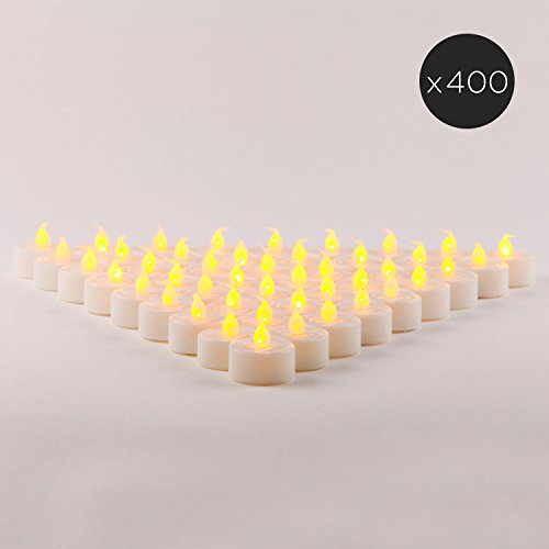 400 White Flameless Tea Lights | Bulk Value Set | Amber LEDs, Resin, Indoor & Outdoor Use, All Batteries Included (Resin 400)