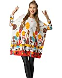 Medeshe Women's Cat Print Sweater Dress Long Sleeve Loose Knit Pullover (M/L/XL, 02-Off-White)