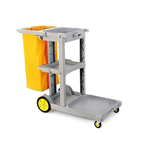 ZCF YEUX Hand Trucks Multi-Purpose Cleaning Trolley Hotel Room Linen Service Cleaning Car (Yellow)