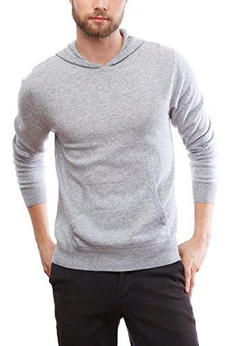 MoonCats Men's 100% Cashmere Hoodie Pullover Long Sleeves Hooded Sweatshirt (light grey, M)