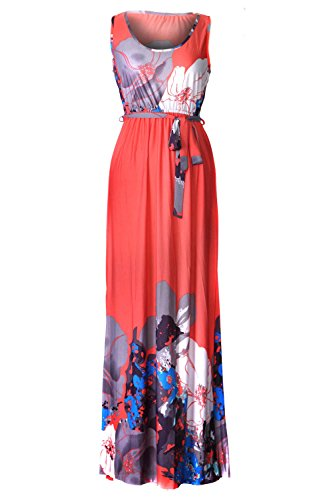 G2 Chic Women's Basic Casual Lounge Spring Summer Maxi Dress(DRS-MAX,ORNA2-S)