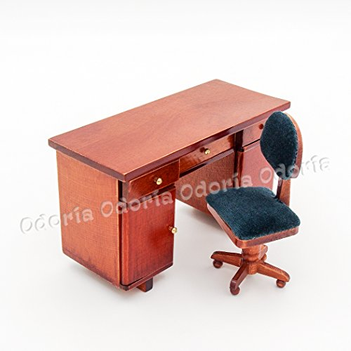 Odoria Odoria 1 12 Miniature Wooden Office Desk And Swivel Chair Dollhouse Furniture Accessories