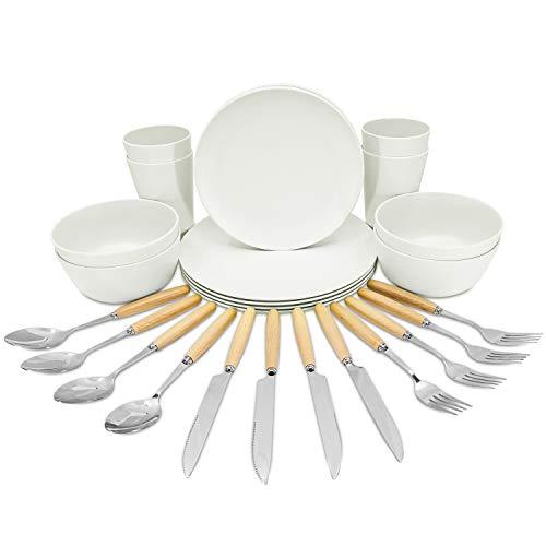 BAMBOO N' BEYOND Bamboo Fiber Dinnerware Set – 28 Pieces Dinnerware Set 4 guests – Bamboo Dinnerware includes Plates…