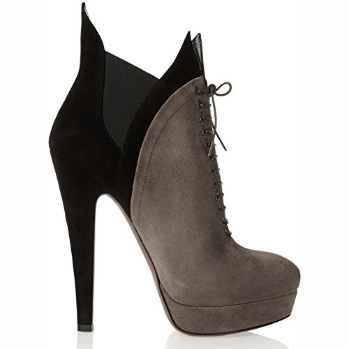 NVXIE Women Ladies Ankle Boots Stiletto Heel Shoes Suede Cross Straps Round Head Waterproof Spring Autumn Winter GRAY-EUR43UK9 c1sdcq