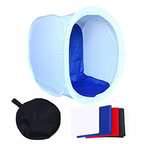 YaeTek 32x32 inch/80x80 cm Photo Studio Shooting Tent Light Cube Diffusion Soft Box Kit with 4 Colors Backdrops (Red Dark Blue Black White) for Photography