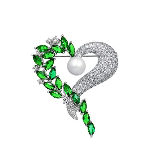 DARLING HER Luxury Cubic Zirconia CZ Crystal Pave Green Heart Brooch Pins for Women Or Wedding in Gold/Silver Colors
