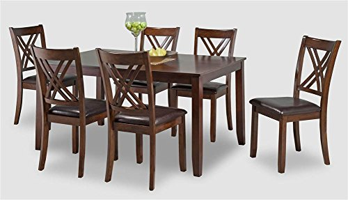 7-Pc Dining Table Set in Dark Brown and Cherry Finish