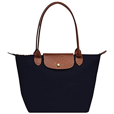 Designer Nylon Tote Bag with Genuine Leather Handles and Flap Over ...