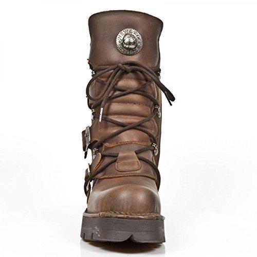 New Rock Boots M.373-c58 Gotico Hardrock Punk Unisex Schnürstiefel Braun