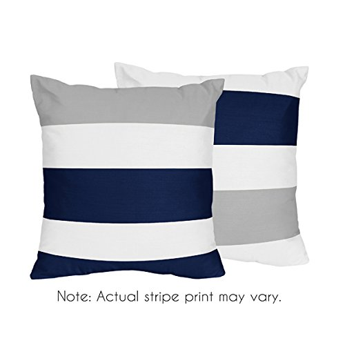 Sweet Jojo Designs 2-Piece Navy Blue, Gray and White Decorative Accent Throw Pillows for Stripe Collection