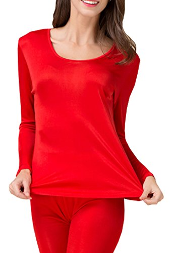 Fashion Silk Women's Thermal Underwear Sets Knit Silk Long johns for women Base Layering Sets (Large, Red) (Knit Silk Underwear)