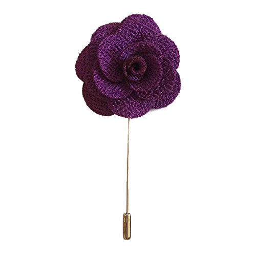 (Sunny Home Men's Lapel Flower Stick Brooch Pin Boutonniere Pin for Suit Tuxedo Corsage (3.74in, Purple))