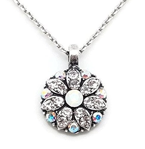 Mariana Silver Plated Swarovski Crystal Necklace White Opalescent & Clear Guardian Angel 001 On A Clear Day