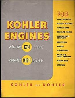 1949-1950 KOHLER ENGINES K7-1 & K12-1 AIR COOLED BROCHURE AND SPEC