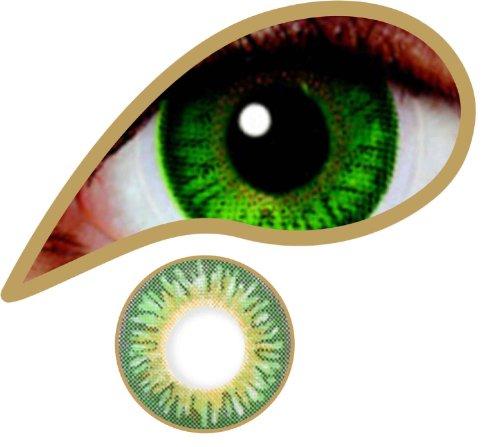 Farbige Kontaktlinsen 12-Monatslinsen & Color Contact lenses Green - Grün/ Green 1 Paar (2 Stück) ohne Stärke mit Linsenbehälter Eye effect